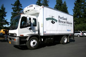 Refrigerated truck provided by the Walmart Foundation helps transport food to our various ministry sites.