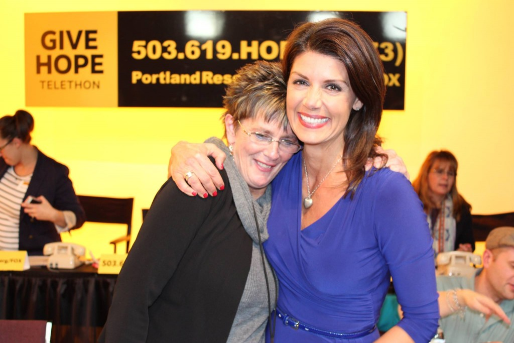 "Barb with Fox 12 Oregon's Amy Troy at our annual 2015 ""Give Hope"" Telethon."