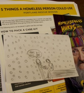 A student drew a picture with a message to go in a care kit for someone facing homelessness.